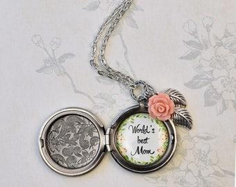 World's Best Mom locket, Mother's Day gift, gift for Mom, family keepsake locket, photo locket, coral rose locket, family gift quote locket
