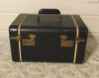 Vintage Train Case,Vintage Luggage,Navy Blue