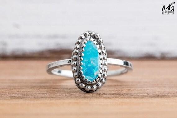 Aqua Blue Boulder Opal Gemstone Ring in Sterling Silver - Size 5.5