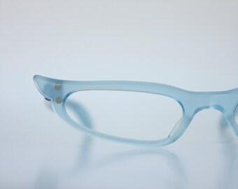 Vintage Pale Blue Pearl Atomic French Cat Eye Eyeglasses - Reading