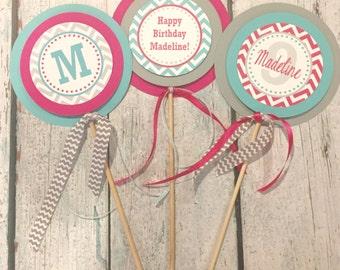 PREPPY CHEVRON - Hot Pink Aqua Gray - Happy Birthday or Baby Shower Centerpiece Sticks {Set of 3}