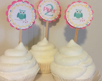 GIRLIE OWL Baby Shower or Happy Birthday or Cupcake Toppers 12 {1 Dozen} - Party Packs Available