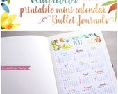 Mini 2017 Calendar printable for Bullet Journals and planners- pdf INSTANT DOWNLOAD - bujo - watercolor