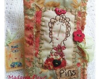 Madame Fleur - Needlebook, Pinkeep, patchwork, primitive hand drawn, hand embroidered in Australia
