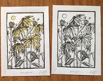 Black-eyed-susans - Linocut on paper - Kathleen Neeley