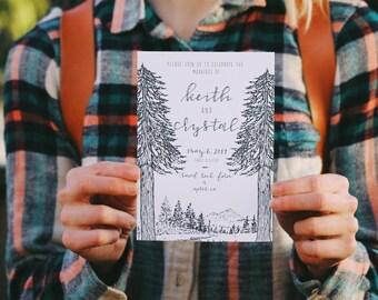 Rustic Treeline Letterpress Wedding Invitation: illustrated Woodland Pines and Forest