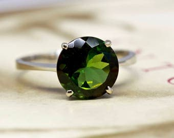 Vintage 1970s Green Tourmaline Engagement Ring, Large 2ct Tourmaline Ring, 14k White Gold Anniversary Ring, Alternative Engagement Ring