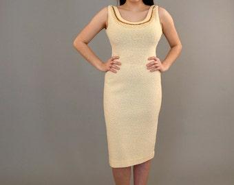 1960's cream Kimberly wool knit dress with beading