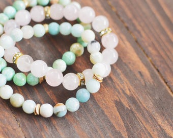 Spring Set of 3 // SALE // Stretch Gemstone Bracelets // Rose Quartz, Aqua, Mint Green Bracelet Stack // Bracelet Stack
