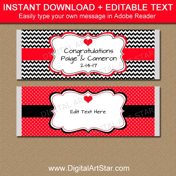 Bridal shower candy bar wrappers printable wedding candy for Valentine candy bar wrapper templates