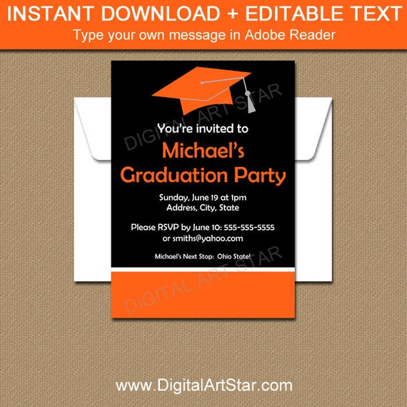graduation party invitation template graduation invitation download printable 5x7 card senior. Black Bedroom Furniture Sets. Home Design Ideas