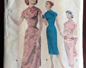 """1950's Butterick One-Piece Oriental style Wiggle Dress Pattern with Hip band and Sash - Bust 30"""" - No. 7718"""