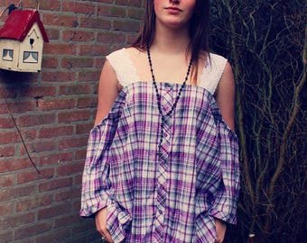 Bohemian Top Off Shoulder Shirt Size L - 2XL Plaid Boho Hippie Womens Upcycled Clothing Recycled Eco Friendly OOAK