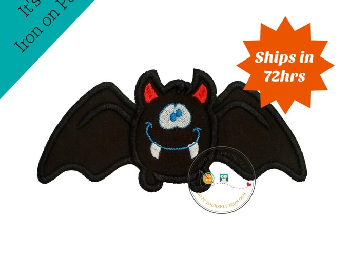 Halloween happy bat - iron embroidered fabric applique patch embellishment- ready to ship
