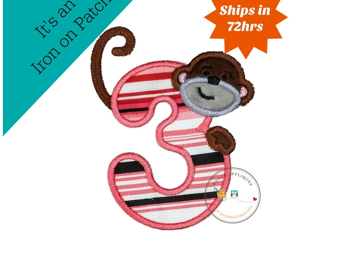 Peeking monkey birthday number 3, iron on number 3 patch for kids birthday, embroidered fabric applique for clothing, Minky monkey