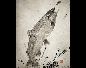 LEAPING RAINBOW TROUT (Niji Masu) - gyotaku print - traditional Japanese fish art by Dwight Hwang