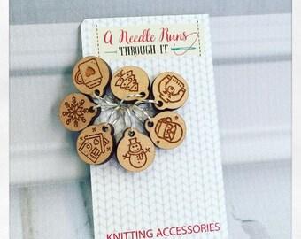 Christmas Holiday Knitting Stitch markers set, Stocking Stuffer
