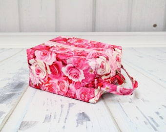 pink Roses Knitting Project Bag, Box Bag, Large boxy bag, Knitting Box Project Bag.Unique metal zipper pull. Crochet project bag
