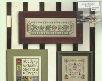 """Clearance-""""Garden Samplers"""" Counted Cross Stitch by Elizabeth's Designs CHARMS INCLUDED"""