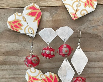 red and gray earrings set of four different