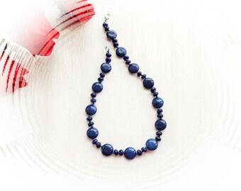Lapis Lazuli Necklace - Choker - Blue Stone Necklace- Healing Necklace - Birthstone Necklace