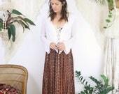 70s Bohemian Maxi Skirt, Brown Orange floral cotton Flower child Hippie skirt, XS 3762