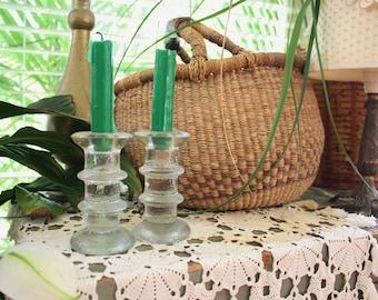 Glass vintage candlesticks,