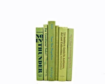 LIme Green Decorative Books, Old Book Set, Book Decor, Wedding Centerpiece, Book Collection, Books for ,y, Book Set