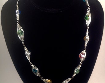 Handmeade Weaved crystal wire wrapped necklace