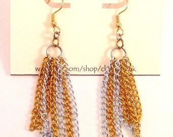 Metal Earrings, Dangle Earrings, Chain Earrings, Gold Earrings, Silver Earrings, Gift Ideas, Long Earrings