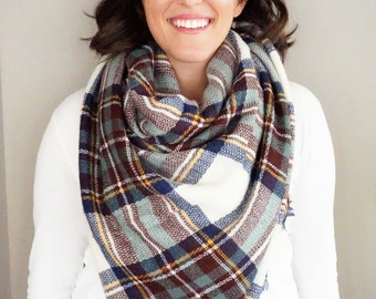 Navy, Maroon, and Green Plaid Comfy Blanket Scarf