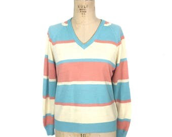 vintage 1970s pastel stripe sweater / Lady LaMode / cashmerlon acrylic / Easter / v-neck sweater / women's vintage sweater / tag size small