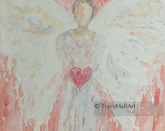 Angel of Love Support Guardian Angel Painting Thank You Gift Art Canvas 11 x 14