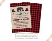 Bear Baby Shower Invitation, Lumberjack Baby Shower Invite, Buffalo Plaid Baby Shower, Woodland Adventure, Baby Boy Theme