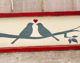 Wooden Sign Valentine's Lovebirds | Valentine's Day Gift | Wedding Anniversary Gift | Farmhouse Rustic Reclaimed Wood Sign Gallery Wall Love