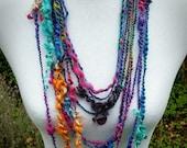 Indigo Rainbow Statement Necklace, Layered Multi Strand Necklace, Hippie Art Yarn Necklace, Bohemian Eco Friendly Fashion, Lockspun Yarn