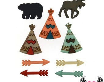 Jesse James Buttons 9 pc Little Man Cave Teepee, Arrows, Moose & Bear Buttons and Flatback Decoden Cabochons (#82)