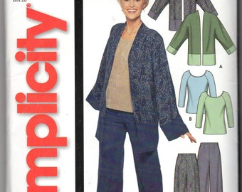 "Easy Women's Jacket, Pants & Knit Top Pattern - Size 8-18, Bust 31 1/2"" to 40"" - Simplicity 7049 uncut"