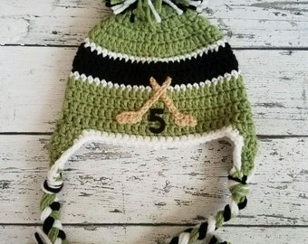 Hockey hat Crochet hockey hat baby hockey hat crochet baby hat Christmas gift Newborn photo prop Knit hockey hat newborn crochet hat
