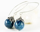 Blue Apatite Earrings, Sterling Silver, fine earrings,  gemstone earrings, semi precious, marquise ear wires, dangle, holiday gift for her