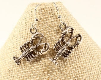 Silver Lobster Earrings Lobster Jewelry  Nautical Earrings  Ocean Craw Shell Fish Deep Seafood Nautical Animal Culinary Earrings