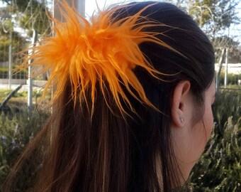 90s Hair Clip, Orange Fuzzy Hair Clip, Unique Large Barrette, Thick Hair Clips, Monster Fur French Barrette
