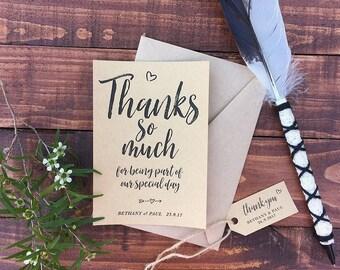 Printed Rustic Wedding Thank You Cards – Kraft paper, Black, Wedding Colour, Appreciation, Love, burlap, Kraft tag, string, Kraft envelope