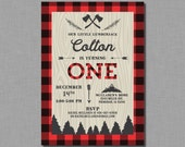 Lumberjack First Birthday Invitation buffalo plaid printable or printed