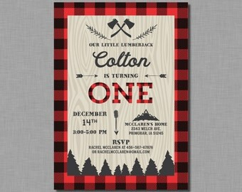 Lumberjack First Birthday Invitation buffalo plaid James MB11 Digital or Printed