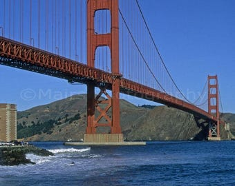 California San Francisco Travel Photography Bridge Golden Gate Landscape Water, Fine Art Photography matted & signed Original Photograph