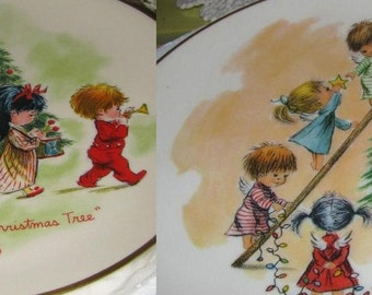Vintage Holiday Christmas Plates Gorham China Moppets Christmas Trees New Old Stock USA Shipping and Tracking is Included in Price of Plates