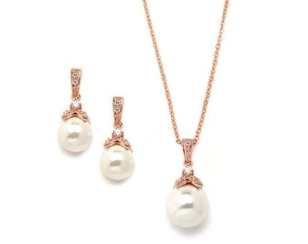 Rose Gold Pearl Drop Necklace Set with Vintage Cubic Zirconia - FREE DOMESTIC SHIPPING