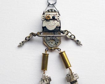 Robot Necklace, steampunk assemblage robot pendant