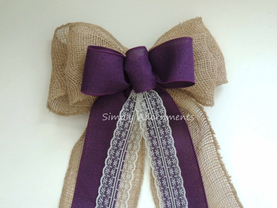 Rustic Purple Burlap Lace Wedding Bow Eggplant purple Burlap Lace Wedding Bow Shabby Chic Lace Burlap Ceremony Aisle Bow Burlap Chair bow